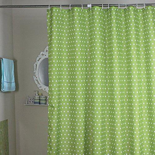 Weare Home Modern Stil Grün Kügelchen Wasserdicht Schimmelfest Polyester Stoff Duschvorhang, wasserdicht, Anti-Schimmel-Effekt, Kunststoff-Duschvorhang, 12 Haken zum Aufhängen,180cm x 200cm (B x H).
