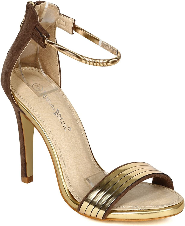 Nature Breeze CD44 Women Suede Open Toe Back Zipper Stiletto Sandal - Taupe