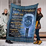 Wolf Moon to My Daughter Blanket - Straighten Your Crown Blanket Gift Sherpa Blanket King Queen Throw Size Comfortable