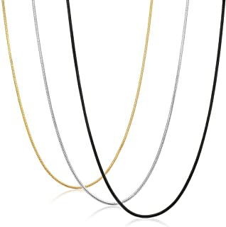 FIBO STEEL 0.9mm Stainless Steel Mens Womens Necklace Snake Chain 3 Pcs a Set, 14-36 inches