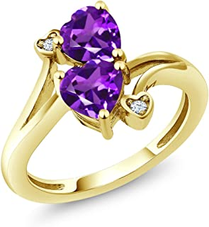 Gem Stone King 10K Yellow Gold Purple Amethyst Ring 1.33 Ctw Heart Shape (Available 5,6,7,8,9)