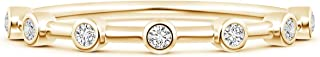 Christmas Sale-Bezel Set Lab Grown Diamond Half Eternity Women's Band in 14k Gold (0.1 ctw, H Color & SI2 Clarity)