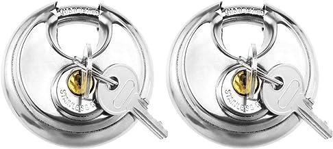OTOTEC 2 Stks Discus Hangslot Ronde Lock Hangslot Set met Sleutels Roestvrij Staal Hangsloten 70mm