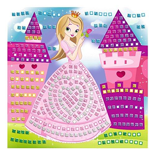 Ursus 8420001 - Moosgummi Mosaikbild, Prinzessin mit Glitter, 434-teilig, bunt
