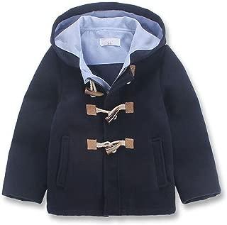 Little Boys' Classic Wool Blend Hooded Duffle Coat Toggle Coat