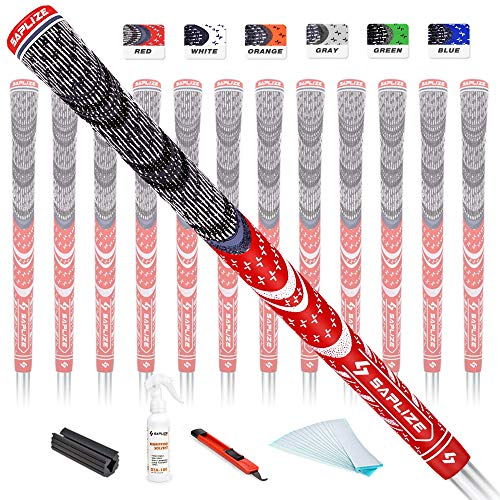 SAPLIZE Golf Grips 13 Piece with Complete Regripping Kit, Midsize, Cord Rubber, Hybrid Golf Club Grips, Red