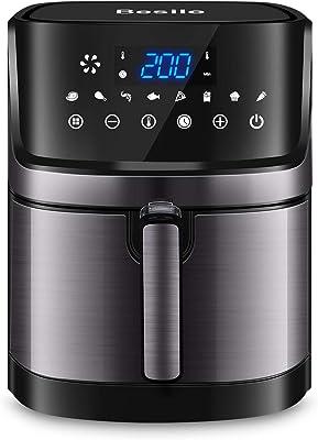 Besile Freidora de aire XL5.8 cuartos de galón, horno de acero inoxidable de 1700 vatios, pantalla táctil digital LED con 8 preajustes de cocción, cesta cuadrada antiadherente, libro de cocina gratis