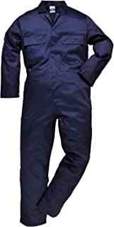 Portwest Euro Work Boilersuit Coverall Overall Protective Safety Work Suit One Piece, Navy, Small