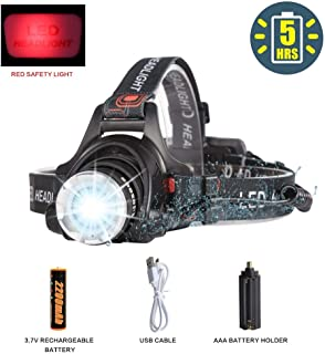 LED Headlamp Flashlight,COSOOS Rechargeable Headlamp with Red Safety Light,1000 Lumen,Zoomable,4-Mode Tactical Headlight,Waterproof Head Lamp for Adults,Camping,Ready for Hurricane,Li Battery Included