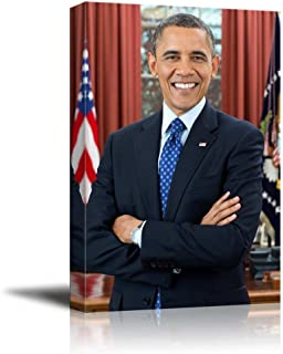 wall26 - Portrait of Barack Obama (44th President of The United States) - American Presidents Series - Canvas Wall Art Gallery Wrap Ready to Hang - 24x36 inches
