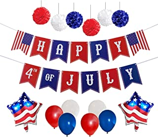 4th of July Party Decorations Set   Happy 4th of July Banner   American Flag Balloons   Multi-Color Balloons   Hanging Pom Poms Decor