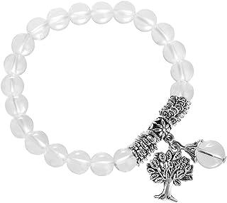 Kyeygwo Braccialetto elastico da donna con perle da 8 mm e ciondolo a forma di albero della vita, realizzato a mano, con p...
