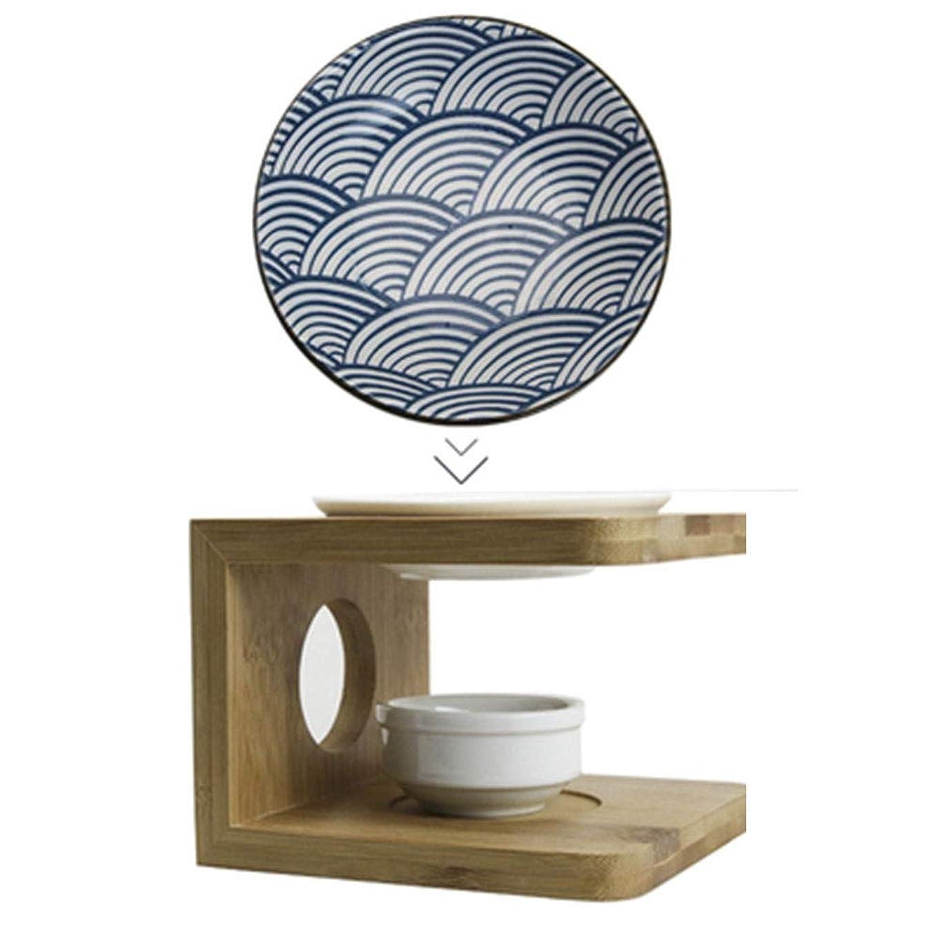 アドバンテージお気に入りフォーラムお換えのお皿 青いお皿茶香炉 陶器茶香炉 茶こうろ 茶 インテリア アロマディフューザー 精油和風 アロマ リビング セット (ブルー)