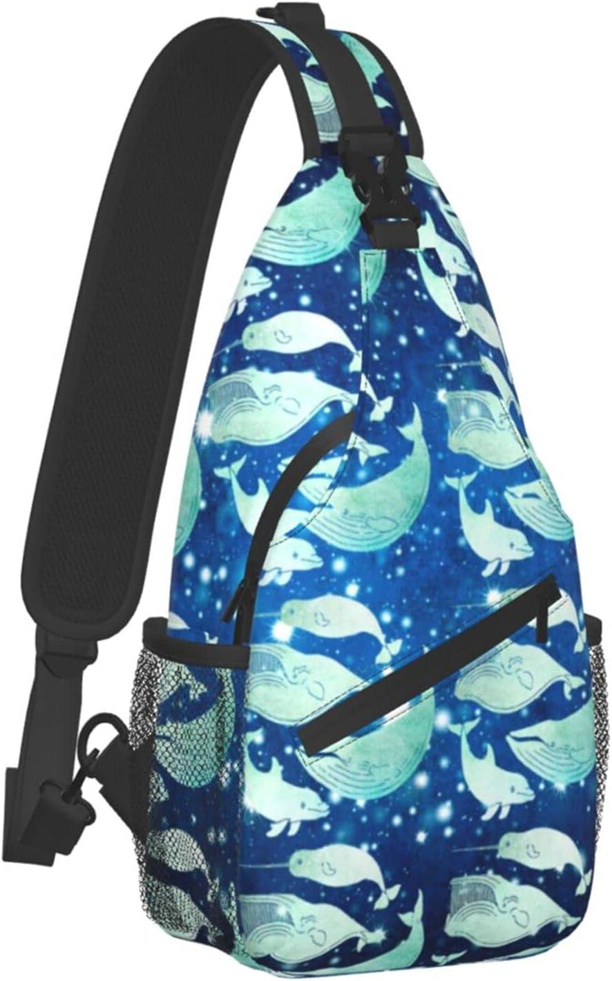 Sling Backpack Travel Hiking Daypack 70% OFF Outlet Dolphin Narwhal Be super welcome Blu Vintage
