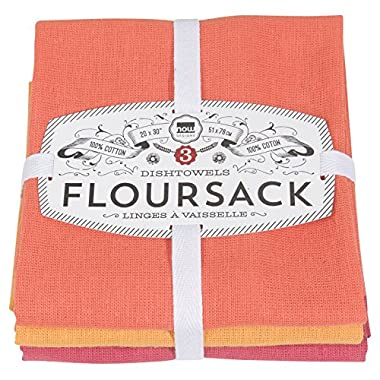 Now Designs Floursack Kitchen Towels, Set of Three, Flame/Marigold/Petal