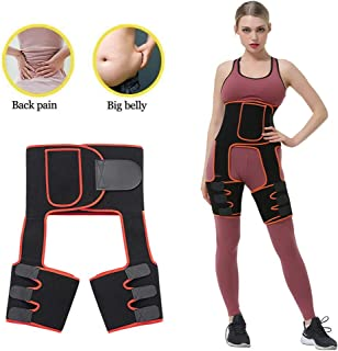 Awzcy 3 in 1 Waist Trainer Thigh Trimmer for Women Butt Lifter Shapewear and Hips Belt, Adjustable Body Shaper with Phone Bag for Body Workout Fitness Fat Burners/M