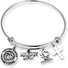 Marines Mom Leather Bracelet with Round Logo Charm and Lobster Clasp FTH U.S