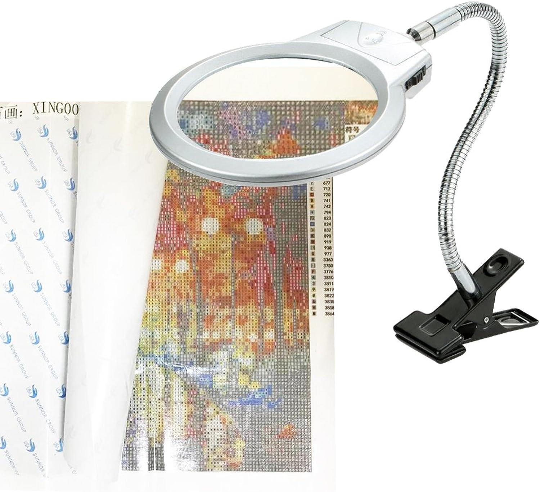 5D Diamond Painting Tools Magnifier LED Light Clamp, Folding Design 2 Glass Lens 4X & 6X Magnifier DIY 5D Diamond Painting Kits Adults Number Kit