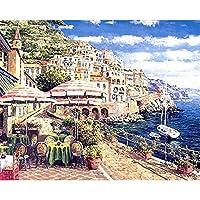 デジタル絵画海辺の建築DIY油絵 数字キットによる絵画使用するブラシとアクリル顔料アートの家の装飾 40x50cm (フレームレス)