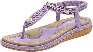 Sandales Femmes Plates, Chaussures Boheme ÉTé Nu Pieds à Talons Plates à Bouts Ouverts Plage Semelle Confortables Grand Ta...