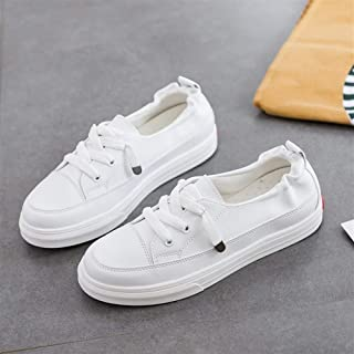 Small White Shoes Female 2019 Summer New Student Lazy Casual Shoes Korean Version of The Wild Flat Shoes (Color : White, Size : 35)