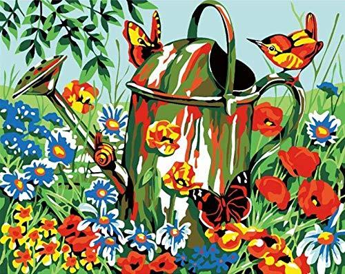 JFZJFZ DIY schilderij op cijfers voor volwassenen en kinderen voorbedrukt canvas olieverfschilderij kits met voor thuis decoratie gieter