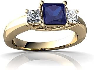 14kt Gold Lab Sapphire and Diamond 5mm Square Three Stone Trellis Ring