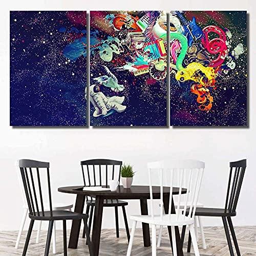 QUANQUAN 3 Paneles de Pintura de Pared Impresiones sobre Lienzo, 3 Piezas Lienzo Pintura,Astronauta psicodélico - Resumen Decoracion de Pared 3 Piezas Modernos Mural Fotos,Decoración para El Hogar