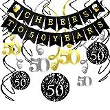 KonSait Kit Decorazione Festa di Compleanno di 50 Anni, Striscione Cheers to 50 Years Compleanno Bandierine Festone Decorazioni Pendenti, 50 Anniversario Matrimonio o 50 ¡ã Compleanno per Donna Uomo