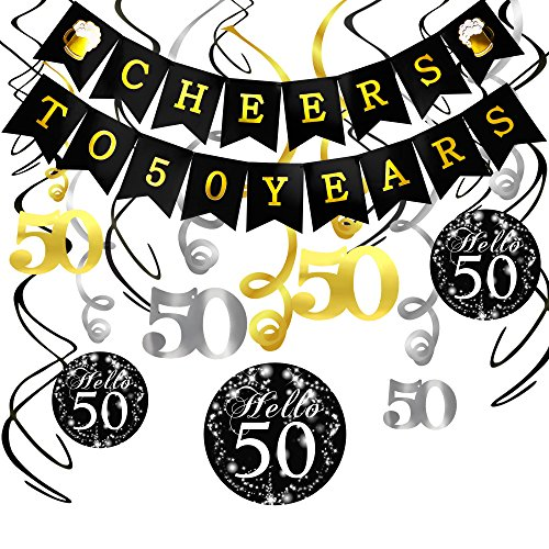 Konsait 50. Geburtstag Dekoration Set, Cheers zum 50. Geburtstag Girlande Banner Folie Spirale H?ngedekoration, perfekte f¨¹r Alle M?nner und Frauen 50. Geburtstag Party deko