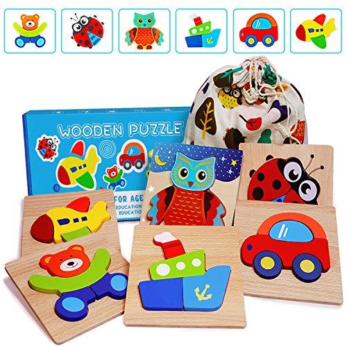 E-MANIS Giocattoli Bambini 1 Anno Puzzle di Legno Set per 2 3 4 5 Anni Giochi Bambina Montessori Bambino Educativi Gioco Pattern Blocchi Ragazzo Ragazza Regalo Animali e Veicoli 6 Pezzi, Multicolore