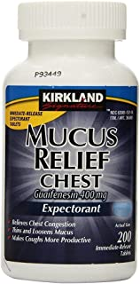 Kirkland Signature PZNFmL Mucus Relief Chest Guaifenesin 400 mg Expectorant, 200 Count (2 Pack)