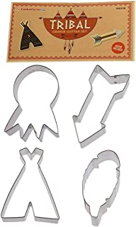 Tribal BOHO 4 Pc Tin Cookie Cutter Set- Include: 4.5 in dream catcher, 4 in Tepee, 4.5 in arrow 4.5 in feather. - Foose Cookie Cutters - USA Tin Plate Steel