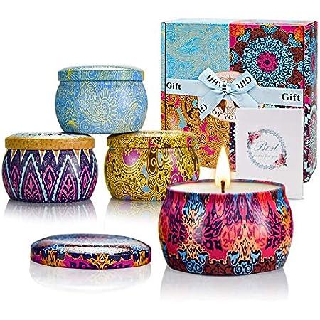 TTRWIN - Candele profumate cofanetto regalo, cera di soia naturale aromaterapia, yoga, regalo per la festa della mamma e San Valentino, candela da viaggio (4 pezzi)