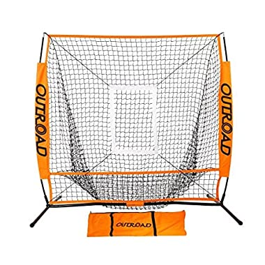 OUTROAD Baseball Nets for Batting & Pitching 5 x 5 - Portable Practice Net w/Bow Frame & Strike Zone Target