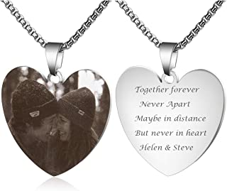 Personalized Photo Necklace Custom Engraved Picture Image High Polished Stainless Steel Heart Necklace