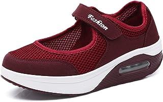 TT Global Femme Mailles Chaussures de Fitness Baskets Mode Compensées Mary Janes Sandales Marche Baskets Plateforme pour F...