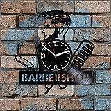 Barbershop - Reloj de pared de vinilo para peluquería, diseño...