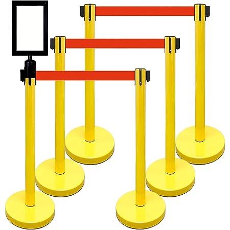 6 Pcs Set Heavy Duty Black DuraSteel VIP Series Standard Rope Barriers
