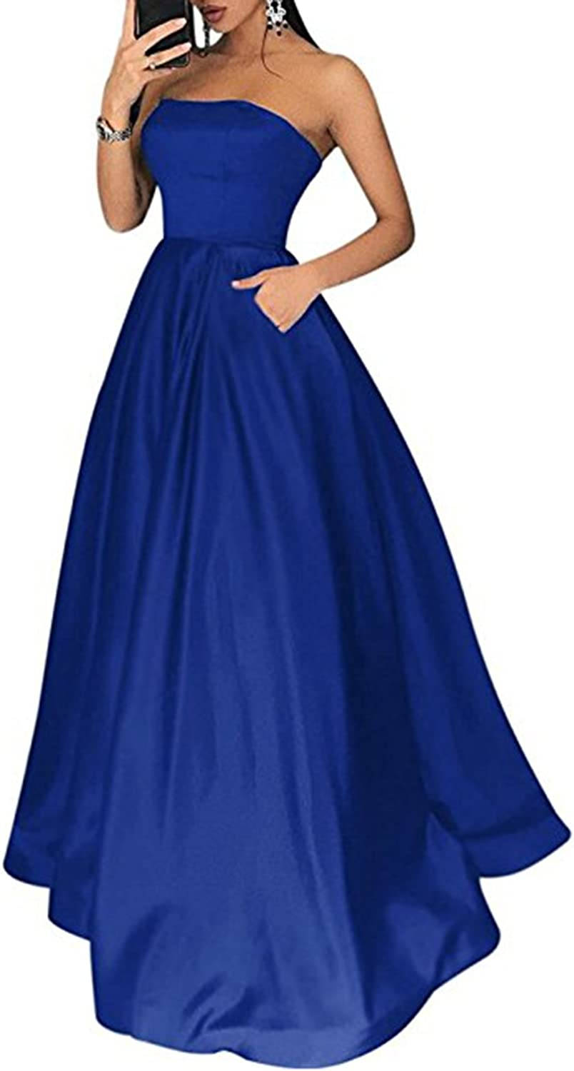 Alilith Z Sexy Strapless Satin Prom Dresses Crystal Beaded Long Formal Evening
