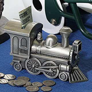 Personalized Pewter Brushed Train Money Bank Message Or Name Engraved