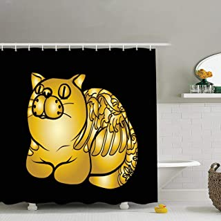 Gold Pattern Fat cat Tattoo Japanese Animals Wildlife Fish Backgrounds Textures Fabric Bathroom Decor Set with Hooks, 72 x 72 Inches