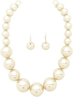 Women's Large Big Simulated Pearl Statement 18
