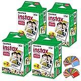 FujiFilm Instax Mini Camera Film - Polaroid Printer Film - 4 Pack of 20 | Total - 80 Photo Sheets, 120 Colorful Mini Photo Stickers| Compatible with FujiFilm Instax Mini 11, 9 and 8 Fuji SP-1, SP-2