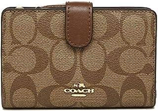 Coach F23553 IME74 Medium Corner Zip Wallet Signature PVC Khaki/Saddle