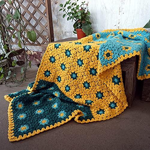 Manta de Ganchillo para mesas Cojín de Ganchillo para sofá para Silla Mantel para Sala de Estar, 130x50cm