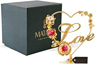Matashi 24K Gold Plated Crystal Studded Double Heart with Banner Ornament, Best Gifts for Valentine's Day, Mother's Day, Anniversary, Christmas, Birthday (Red Crystal - Love)