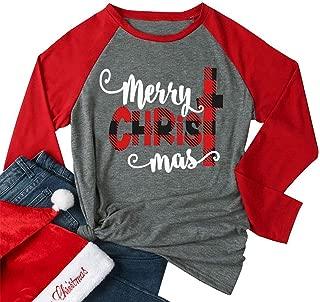 Merry Christmas Baseball T-Shirt Casual Women Top Full Long Sleeve Baseball Tees