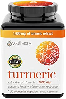Youtheory Turmeric Extra Strength Formula Capsules 1,000 mg per Daily, 180 Count (Pack of 3) lCu@Wi