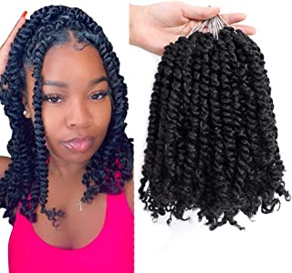 10inch Pre-twisted Passion Twist Hair 7 Pack Pre-looped Short Passion Twists Hair 1B# Weave Master Short Passion Braids Cr...